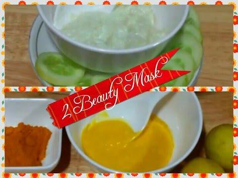 DIY 2 Beauty Mask/Indian Beauty Face Pack/Cucumber, Yogurt, Turmeric, Honey, Mask/Skin Brightening
