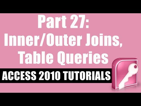 Microsoft Access 2010 Tutorial for Beginners - Part 27 - Inner/Outer Joins, Table Queries