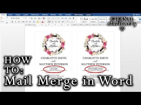 How to: Mail merge names on wedding invitations | Microsoft Word 2016 Mac