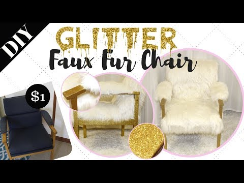Rags to Riches Ep. 1  || DIY GOLD GLITTER FAUX FUR CHAIR | $1 Chair Upcycle