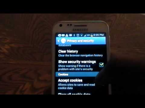Clear Cache and cookies on Samsung Galaxy S2