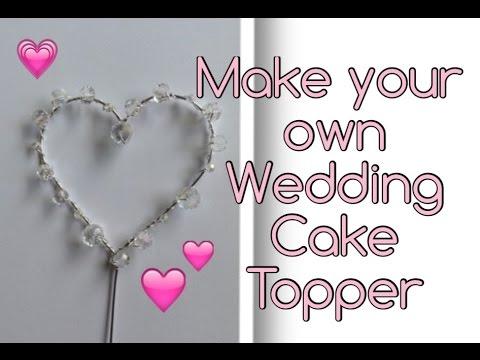 Beaded Crystal Heart Wedding Cake Topper DIY Tutorial