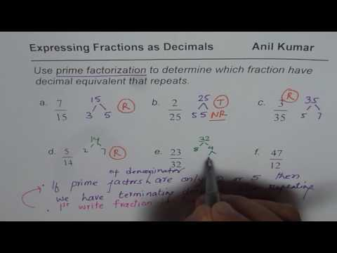 Prime Factorization to Check if Fractions will be Repeating or Terminating Decimal Numbers