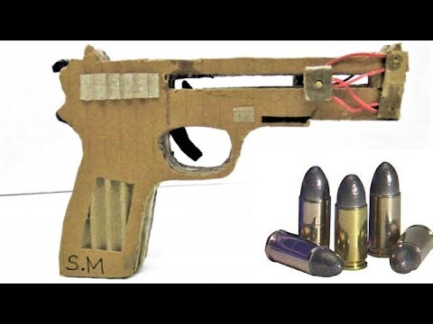 How To Make a Rubber Pistol from Cardboard That Shoots