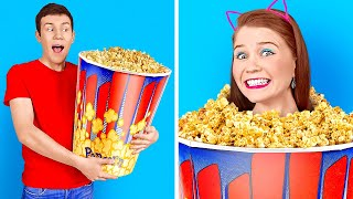 BEST GIANT VS TINY FOOD CHALLENGE || Coolest DIY Pranks And Large Food For 24 Hours By 123 GO! BOYS