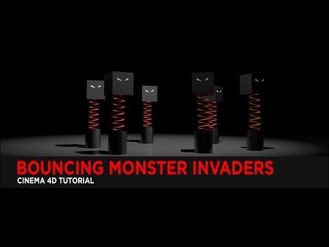 Bouncing Monster Invaders in Cinema 4D : Tutorial