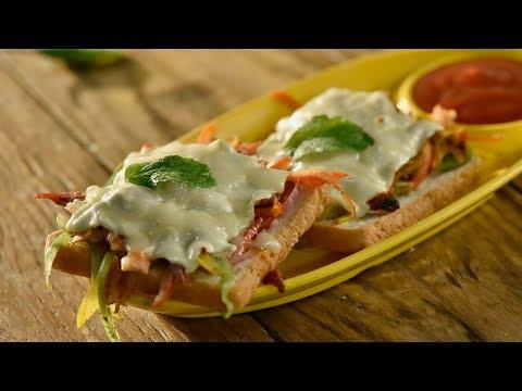 Tandoori Chicken Melt | How To Make Cheesy Chicken Tandoori Bread Toast | Delicious Snack Recipes