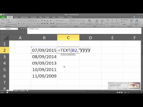 Excel extract year of a date