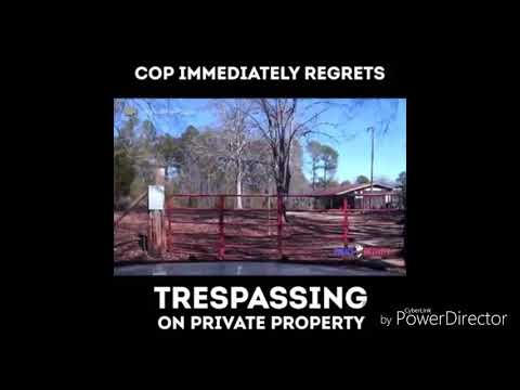 Cop immediately regrets trespassing on private property (must see)