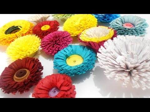 how to make quilling pom poms flower