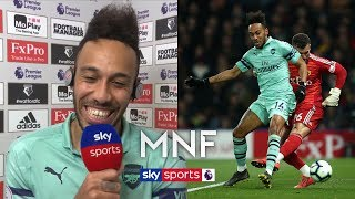 Pierre-Emerick Aubameyang reacts to his bizarre goal against Watford!   MNF