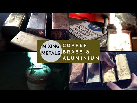 CASTING A HUGE GOLD  ALLOY INGOT FROM MIXING BRASS COPPER & ALUMINIUM - huge light gold bar