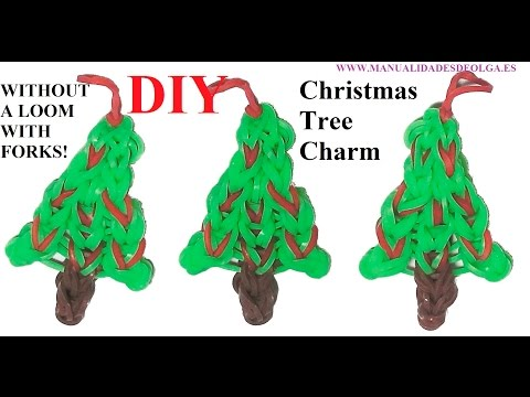 Christmas Tree Charm without rainbow loom, with 2 forks, tutorial diy