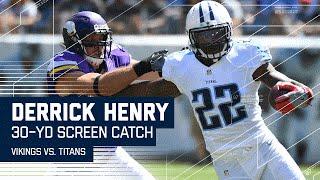 Derrick Henry S Crazy Cross Field Catch Run Titans Vs Vikings Nfl