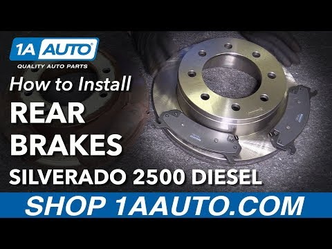 How to Install Replace Rear Brake Pads Rotors 2005-10 Chevy Silverado 2500 HD Diesel