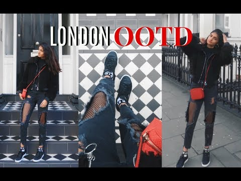 LONDON OUTFIT OF THE DAY: BLACK W/ POP OF RED