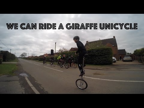 Learn to ride a giraffe unicycle