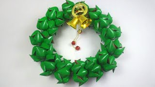 How to Make Christmas Door Wreath Using Plastic Bottles