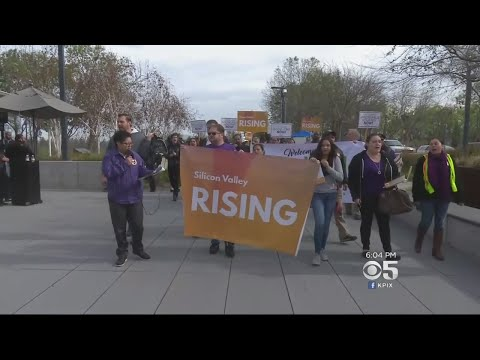 Protesters March For Low-Income Housing At San Jose Google Development