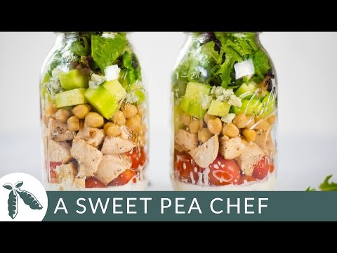 Chicken Cobb Mason Jar Salad (With a Clean Ranch Dressing!) | A Sweet Pea Chef