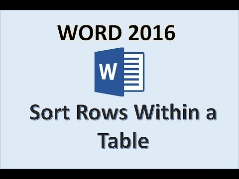 Word 2016 - Sort Rows in a Table