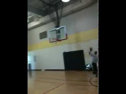 Vivek making football shot into hoop!