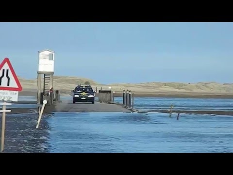 Holy Island crossing when tide is coming in