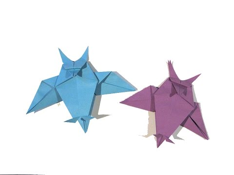 Halloween Origami Owl (first version) - Easy Origami Tutorial - How to make an easy origami owl