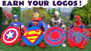 Spiderman and Superman superheroes earn their Play Doh Logos - Toy stories for kids TT4U