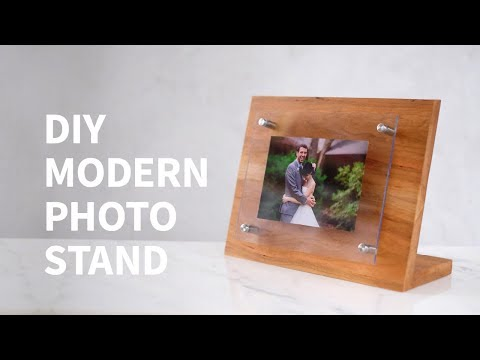 DIY modern wood & acrylic photo stand w/ the HP ENVY Photo Printer | How to