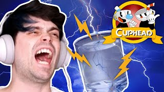 PLAYING CUPHEAD WITH CUPS OF WATER | Damien Breaks Games