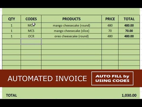 Create Automated Invoice using Excel (auto fill by codes)