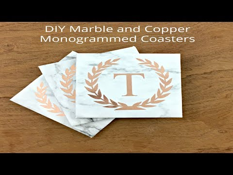 DIY Marble and Copper Monogrammed Coasters Using Cricut | Love Franchesca