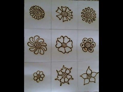 Mehndi design for beginners  simple mehndi designs  basic flower shapes  Easy mehndi Tutorial 1