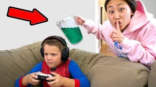 SLIME PRANK ON MY LITTLE BROTHER!!