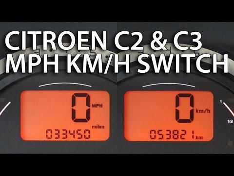 How to change Citroen C2 & C3 units between MPH and km/h (instrument cluster hidden menu)