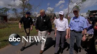 Trumps get firsthand look at hurricane