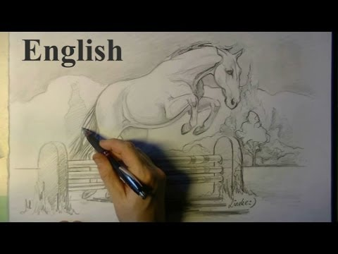 Drawing a JUMPING HORSE and fence - easy for beginners