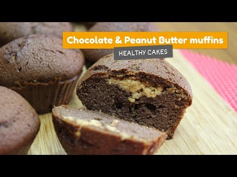 Chocolate and peanut butter muffins | Healthy cakes #1