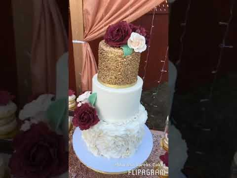 GOLD AND BURGUNDY RUFFLES CAKE