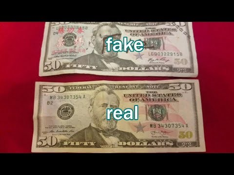compare Fake $50 Bill from China vs. Real $50 USA Bill