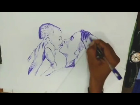 Mother's Day |Time lapse  - pen sketch