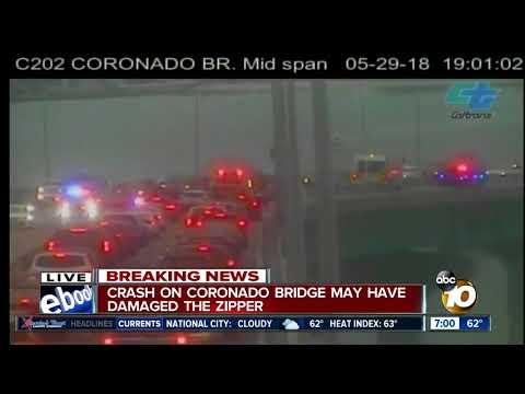 Crash on Coronado Bridge may have damaged the zipper