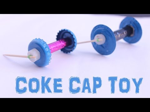 Make Rubber Band Powered Bottle Cap Toy With Tooth pic Kids Project