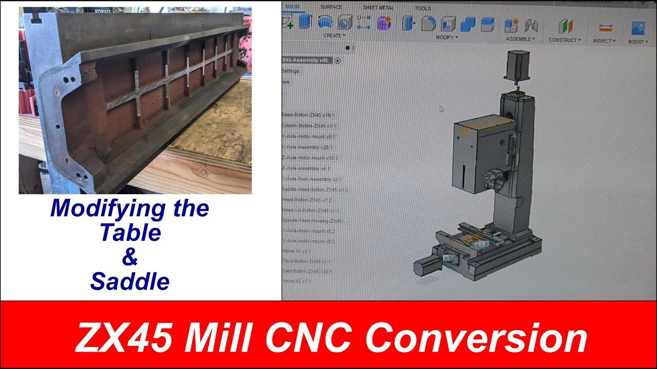 RF Clone ZX45 Mill CNC Conversion - Modifying Table & Saddle