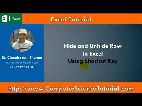 Hide and Unhide Row using Shortcut Key in Excel in Hindi