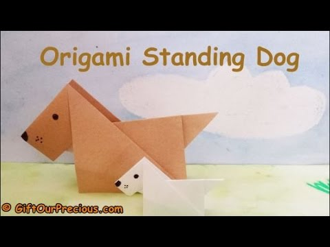 Origami 3D Standing Dog - Simple and Easy Origami Animals for Kids and Everyone
