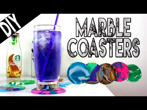 DIY | Marble Coasters - HOW TO MAKE MARBLE COASTERS OUT OF CLAY!!!