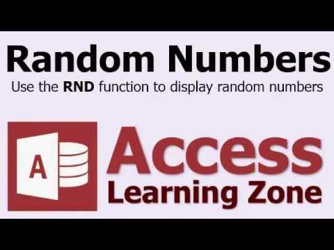 Microsoft Access Random Numbers - RND Function