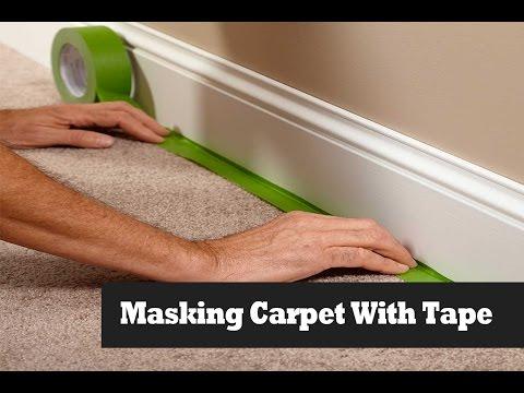 Masking Carpet On Stairs Before Painting Walls.  Masking Carpet.